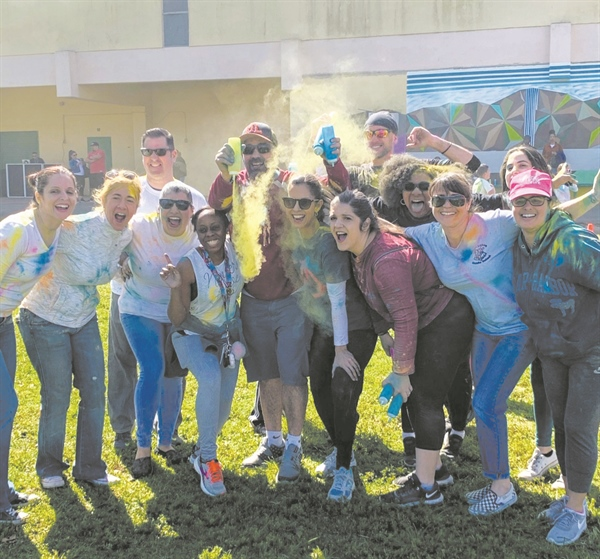 Miami Lakes Middle School gives visiting families a colorful welcome