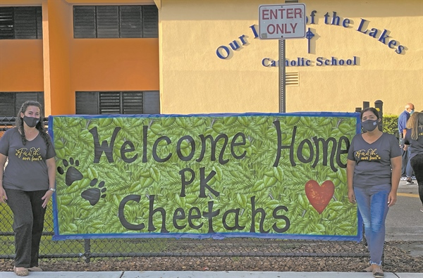 Our Lady of the Lakes Catholic School welcomes Cheetah cubs back to school