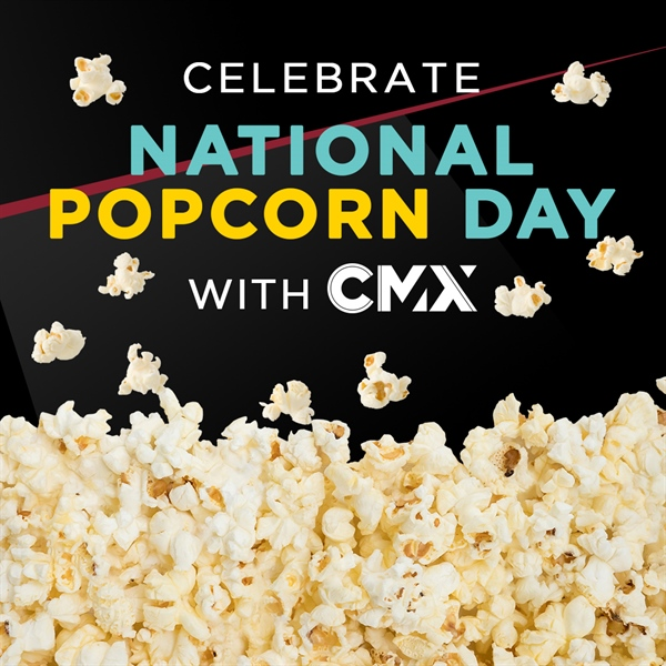 Free popcorn at CMX Cinemas Miami Lakes 17 today!