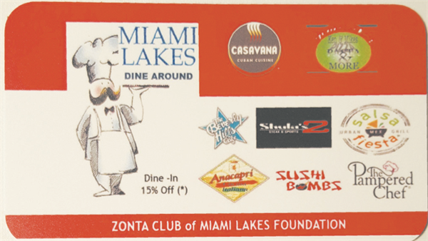 Zonta Club of Miami Lakes sells discount dining card
