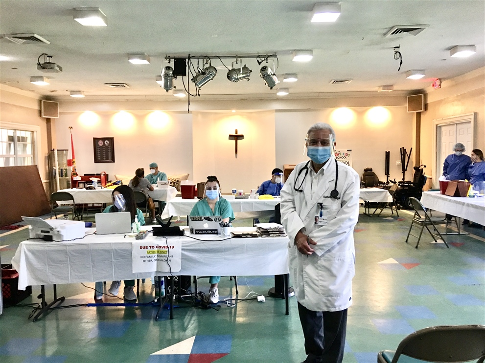 Dr. Ausberto Hidalgo at a temporary COVID-19 testing clinic he set up Aug. 19 at Miami Lakes United Methodist Church.