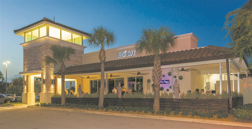 The southern facade of Sushi Sake restaurant and its patio in the Cypress Village Shopping Center in Miami Lakes. Photos courtesy of the restaurant.