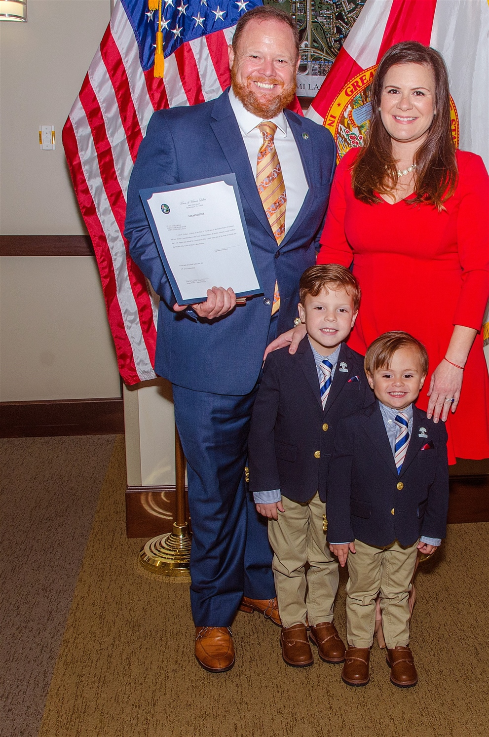 Shown are Vice Mayor Luis Collazo with his wife Clarisell De Cardenas who is the town's director of communications, and their sons, Lucas, 5, and Cody, 3.   Photos courtesy of the Town of Miami Lakes.