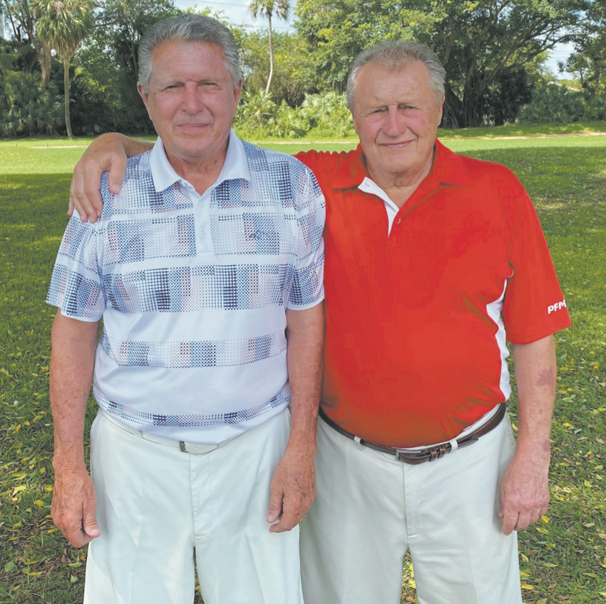 Ken Fraser Sr., 77, at left, and his brother, William Fraser, Jr., 81. The golfers shot their ages during a family tournament at The Senator Course at Don Shula's Golf Club in Miami Lakes on March 1.