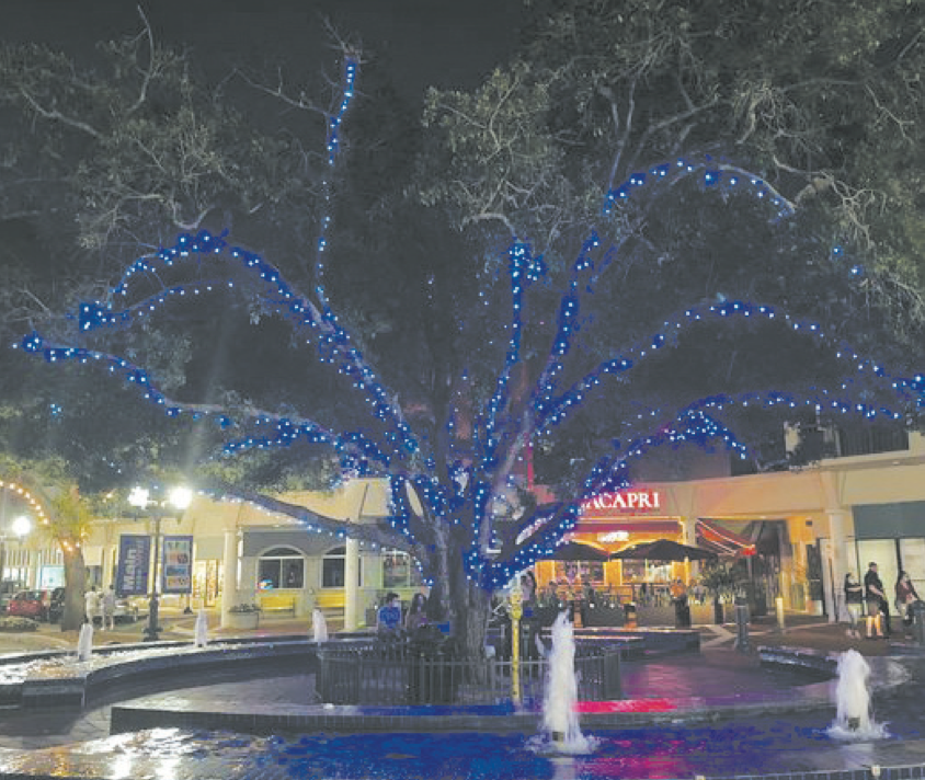 During the month of April, The Graham Companies is shining blue lights on the oak tree at the fountain on Main Street. Blue is the color for autism awareness. The tree lighting is to recognize World Autism Month. Photo by Anne Marie Little, vice pres